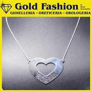 Collana in argento tit. 925 - cuore - tuo nome - personalizzato