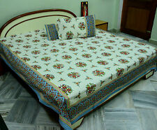 Indian Bedsheet Double Bed Size Hand Made Cotton Bedspread Bedding Tapestry Art