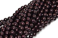 75 Blackberry Czech Glass Round Pearl Beads 8MM