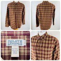 Duluth Trading Co. Mens Sz XL Tall Button Down Flannel Shirt Red Plaid Trim Fit