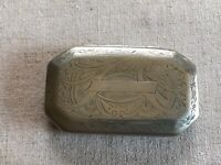 Early Antique Ornate Engraved Silver Plated Pill Coin Trinket Snuff Hinged Box