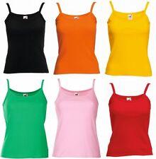 Womens Vest Top Tank Top Cotton Strap Vest Plain T Shirt Vest Plain Top NEW