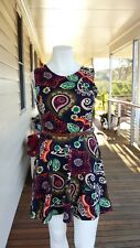 Club L Paisley Multicoloured Ladies Skater Dress Size 16 Made in UK