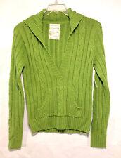 super AEROPOSTALE lime green soft 100% cotton knit v neck sweater L $49