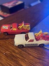 lot of 2 1977 Matchbox Superfast Red Holden Pick-Up No. 60 Diecast W/ TWO BIKES