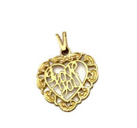 Vintage 9ct Gold I LOVE YOU Heart Pendant Birmingham 1986 GIFT BOXED