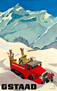 Gstaad 1924 Vintage Swiss Ski Travel Giclee Matte Poster Print 40x64