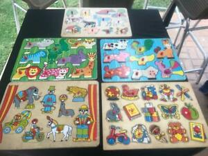 5 VINTAGE WOODEN JIGSAW PUZZLES