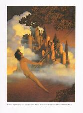 "MAXFIELD PARRISH BOOK PRINT ""DINKY BIRD"" NUDE BOY ON SWUNG CASTLE WITH TURRETS"