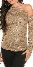 SeXy MiSS Damen Pailletten Long Top Shirt one Shoulder 34/36/38 cappuccino gold