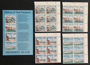 ASCENSION 1980 MAIL TRANSPORT MINISHEET + BLOCKS of 6 UM/MNH