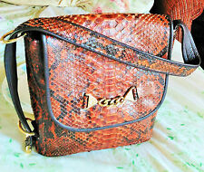 Vintage Snake Skin Leather Handbag Purse, Reptile Shoulder bag