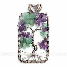 1pc Rectangle Mixed Amethyst Aventurine Gems Tree Of Life Chip Beads Pendant EY