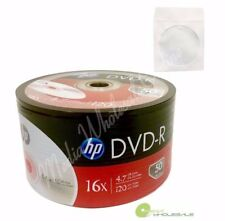 100 HP Blank 16X DVD-R Logo Branded 4.7GB Media Disc + 100 White Paper Sleeves