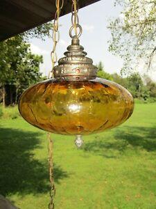 Vintage Amber Crackle Glass UFO Swag Lamp Retro Hanging Light