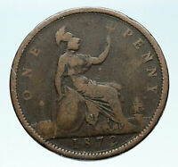 1872 UK Great Britain United Kingdom QUEEN VICTORIA Genuine Penny Coin i84076