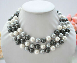 50inch 10mm white black gray round South Sea Shell Pearl Beads Necklace
