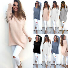 UK LADIES WOMENS V NECK LONG SLEEVE KNITTED JUMPER SWEATER CASUAL TOPS WINTER