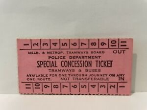 MMTB Melbourne Tramways Police Department Special Concession Ticket Unused Rare