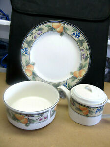 """MIKASA """"GARDEN HARVEST""""  SOUFFLE DISH, TEAPOT, AND CHOP PLATES GREAT EXTRAS!!"""
