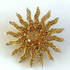 Radiant Sun Maderia Citrine 18k Yellow Gold Brooch Pin Pendant