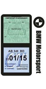 Porte vignette assurance BMW MOTORSPORT double étui voiture Stickers auto rétro