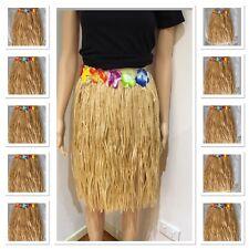 10 Pcs Long Beige Hawaiian Skirt Costume Tropical Dress Hula Luau Leis Grass