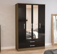 Lynx 4 Door 2 Drawer Mirror Wardrobe Black Grey White Walnut Drawers Wood Modern
