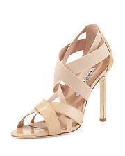SOLD OUT! MANOLO BLAHNIK Eletti Patent Crisscross Patent nude Sandals SZ 39/9