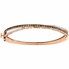 "14K Rose Gold Brown & White Diamond Criss Cross 7.5"" Bangle Ladies Bracelet 1 Ct"