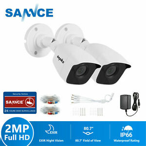 SANNCE 2pcs HD 1080p CTV Outdoor Camera IP66 Night Vision Home Security System