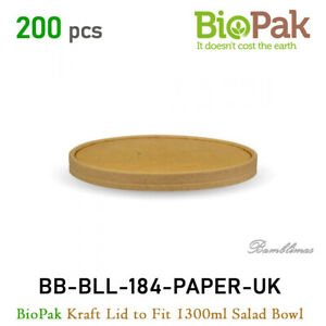 200pcs BioPak Kraft Lid to Fit 1300ml Kraft FSC™ Salad Bowl. BB-BLL-184-PAPER-UK