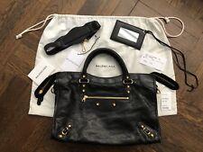 Balenciaga Blk Giant 12 City Bag Lambskin Satchel Handbag Classic Med Gold AUTH