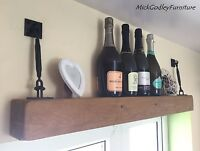 CHUNKY RUSTIC FLOATING BEAM SHELF SOLID WOOD