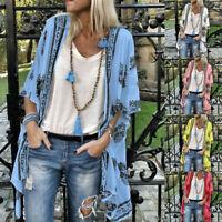 Fashion Womans Boho Print Sunscreen Half Sleeve Loose Sheer Chiffon Cardigan US