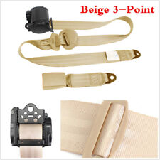 3 Point Automatic Car Front Seat Belt Buckle Kit Retractable Safety Straps Beige