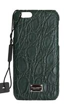 NEW $550 DOLCE & GABBANA Phone Case Cover Green Pattern Leather Logo iPhone6