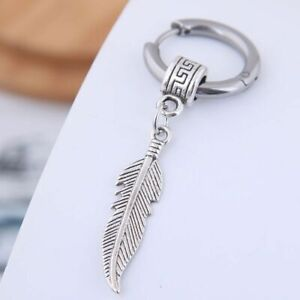 Single Hoop Feather (Removable) Titanium Stainless Steel Earring Like 2 in 1