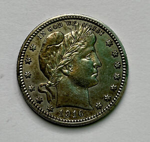 BARBER SILVER QUARTER 1916D  , aunc !! Beautiful Colors , Very Very Nice Coin !!