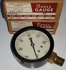 """2 New Marsh 2-1/2"""" Pressure Gauges, 0 - 30 PSI, 1/4"""" Nipple, Type 1DP, 023-061"""