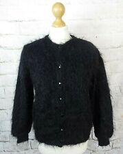 True Vintage black 85% mohair fluffy shaggy long hair cardigan 12 M blogger