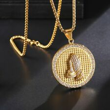 Mens Pendant Necklace Gold Color 316L Stainless Steel Ice Round Praying Hands