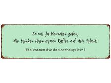 METALLSCHILD Blechschild ES SOLL JA MENSCHEN GEBEN Kaffee Café Spruch Shabby