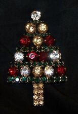 Rhinestone Christmas Tree Pin Brooch-Red, Green, Clear, Light Gold Stones-New