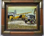 """H. Hargrove Yellow Mail Airplane Serigraph Oil Painting Redlands Signed 8"""" x 10"""""""