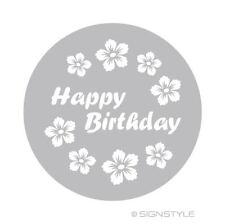 Airbrush Schablonen Mylar Torte 9 Happy Birthday Blüte Hawaii Tortenschablone