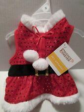 Christmas Pet Dog Red Sparkle Small Dress Coat Vest Harness Santa Costume Jacket