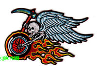 BIKER PATCH SKULL FLAMING MOTORCYCLE WHEEL EMBROIDERED IRON ON PATCH vest jacket