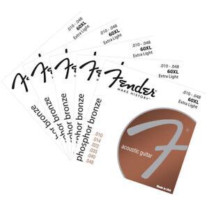 5 Packs Fender 60XL Acoustic Guitar Strings Set 10-48 Extra Light Bronze Strings