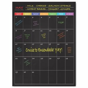 Large Magnetic Monthly Calendar on Black Background